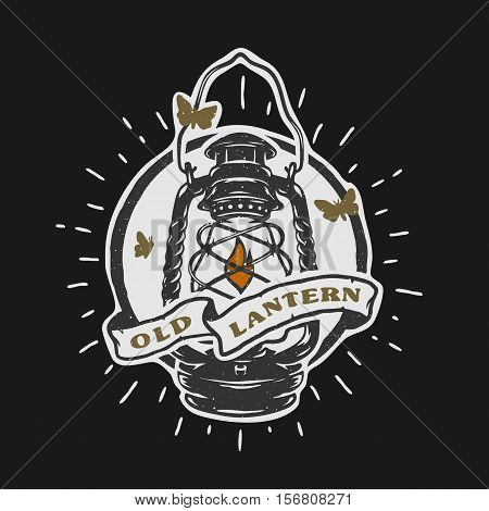 Old kerosene lamp Vintage emblem Vector illustration.