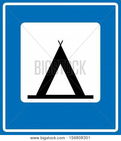 Vector Road Blue Camping Sign. Traffic pictogram for camp area information on blue background in white square black camp outline