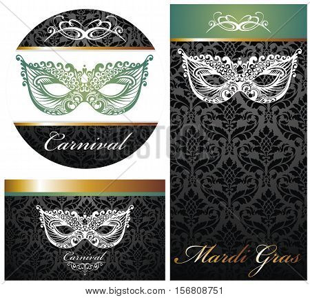 Masquerade ball party invitation posters. Mask illustration