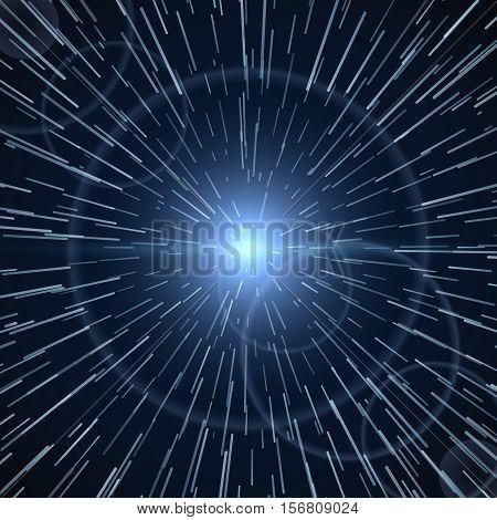 Time warp, bright light white sunburst vector illustration. Sunburst ray shine, design of sunbeam in space