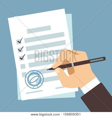 Male hand signing document, man writing on paper contract, hand filling tax form vector illustration. Paper document and businessman writes tax form