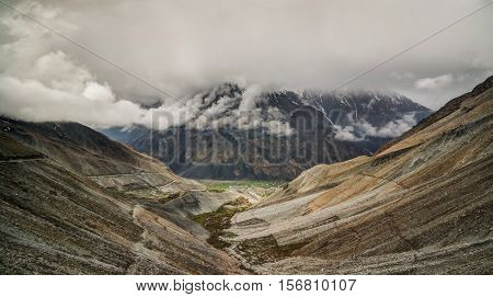 Panorama of Mastuj river and valley near Shandur pass Pakistan