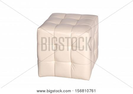 Pouf white leather cube isolated on white background