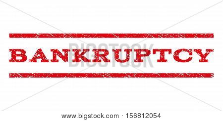 Bankruptcy watermark stamp. Text caption between parallel lines with grunge design style. Rubber seal stamp with scratched texture. Vector red color ink imprint on a white background.