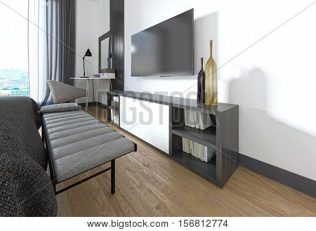 Tv Stand In The Bedroom In A Modern Style.