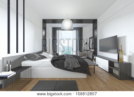 Luxurious, Modern Bedroom In Contemporary Style In Black And White.