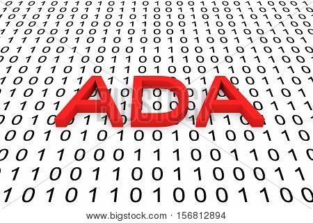 ADA in the form of binary code, 3D illustration