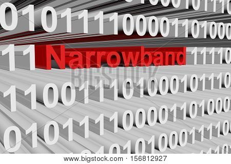 Narrowband in the form of binary code, 3D illustration