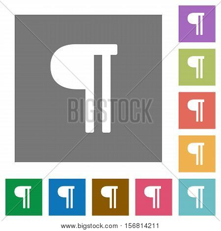 Text paragraph flat icons on simple color square background.