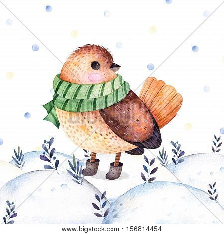 Watercolor handpainted illustration with a cute bird in a green,scarf and boots on winter landscape.