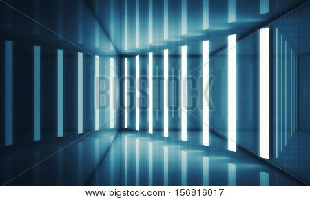 Abstract Blue Room Interior With Neon Lights
