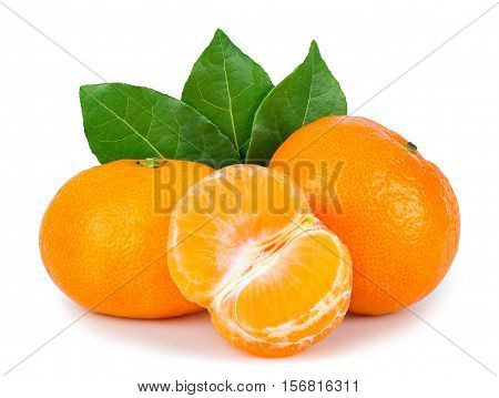 Tangerine with leaves and slices isolated on white. Ripe mandarins isolated on white. Citrus fruit