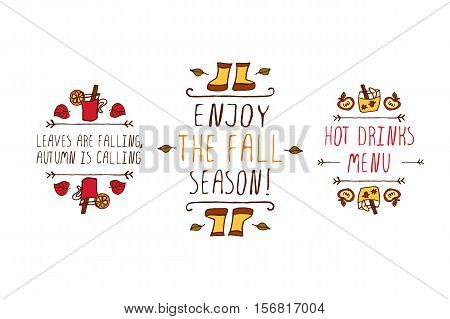 Hand drawn autumn elements with inscription leaves are falling autumn is calling, enjoy the fall season, hot drinks menu on white background