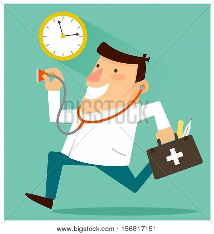 Happy doctor ready to treat patients around the clock