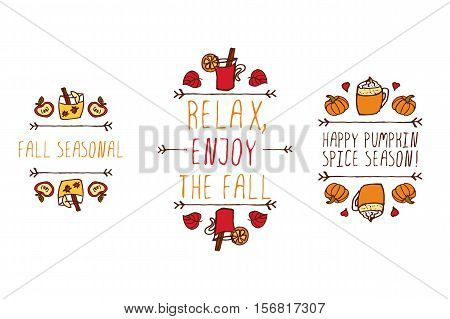 Hand drawn autumn elements with inscription fall seasonal, relax enjoy the fall, happy pumpkin spice season on white background