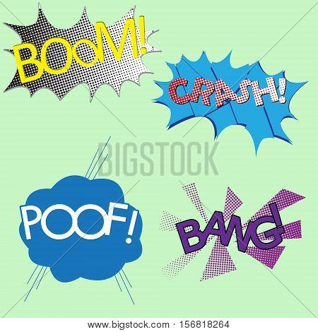 Four different colorful sound effects comics boom crash poof and Bang
