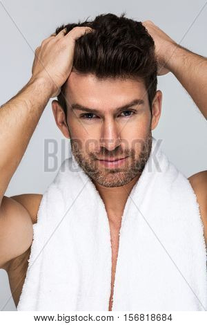 Handsome man with towel