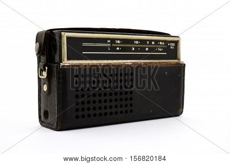 Retro radio close-up on a white background