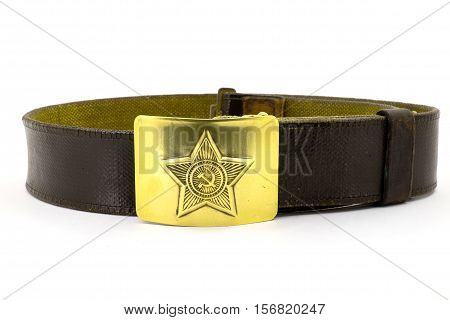 Soviet military belt close-up on a white background