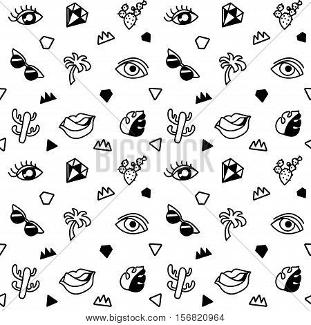 Seamless black and whight pattern with fashion patches. Pop art. Vector background in cartoon 80s-90s comic style. Trend. Lips, eyes, leafs, palms, glasses, cactus. Vector clip-art