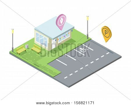 Vector isometric ice cream shop with parking and place for rest, Parking pin geotag icon, isometric black car, invalid parking place sign, 3d flat design illustration. Set of city elements