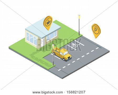 Vector isometric set of city element, parking place geo tag pin icon, streetlights, invalid place sign, road, coffee shop pin, yellow car, cafe, 3D flat design