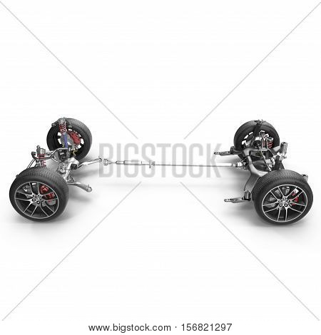 Car chassis without engine on white background. Side view. 3D illustration