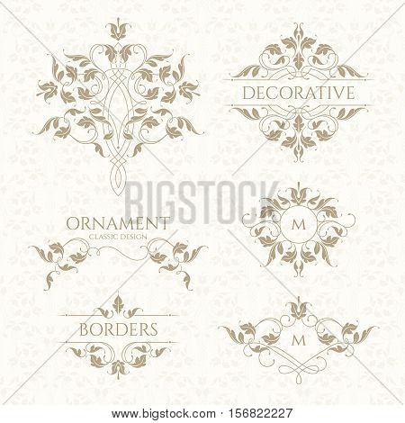Classic ornament. Set of decorative borders and monograms. Template signage,labels, stickers, cards. Graphic design page. Classic design elements for wedding invitations.