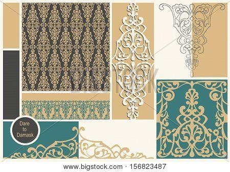 Vector damask mood board template. Vintage collage