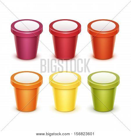 Vector Set of Colored Red Green Orange Yellow Blank Food Plastic Tub Bucket Container For Fruit Berry Dessert Yogurt Ice Cream for Package Design Mock up Close up Isolated on White Background.