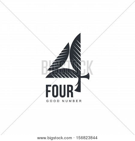 Black and white abstract three dimensional number four logo template, vector illustration isolated on white background. Black and white number four graphic logotype, 3d imitation