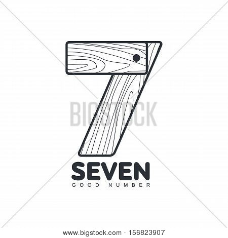 Black and white number seven logo formed by wood planks, vector illustration isolated on white background. Black and white number seven graphic logotype for woodwork, carpenters, furniture makers