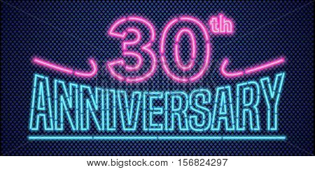 30 years anniversary vector illustration banner flyer logo icon symbol advertisement. Graphic design element with vintage style neon font for 30th anniversary birthday card