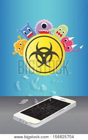 a broken smartphone device infected virus vector