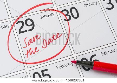 Save The Date Written On A Calendar - January 29