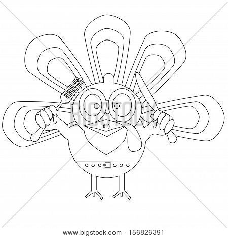 Illustration of the Outlined cartoon turkey. Happy Thanksgiving day concept. Kids coloring book. Kids crayons