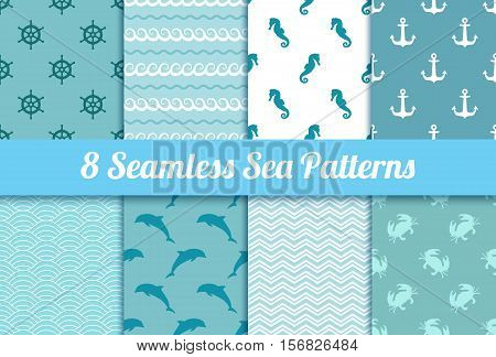 Set of seamless sea patterns. Wave, anchor, dolphin, crab, steering wheel and sea horse vector textures