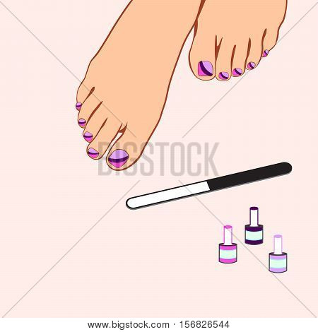 Foot care pedicure spa pedicure vector illustration