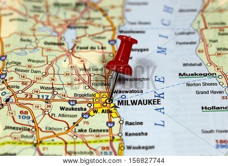 Map with pin point of Milwaukee in Wisconsin, USA