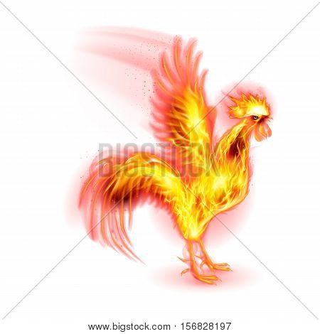 Silhouette of Red Cock. Fire Rooster Symbol of the New Year by Chinese Calenda on White
