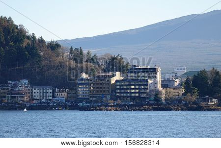 Kawaguchi-ko Lake With Township In Japan