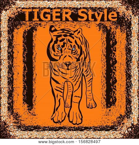 Tiger label design with hand drawn tiger for posters t-shirts greeting cards etc. Vector illustration.