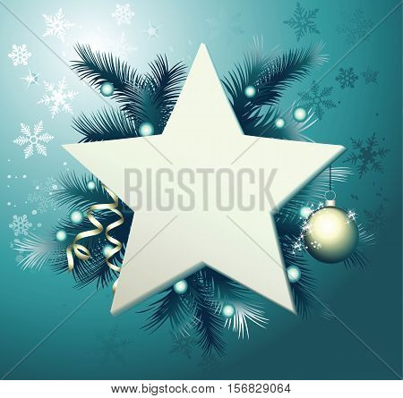 Christmas background with star frame - vector background