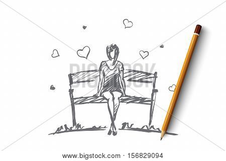 Vector hand drawn girl hearts concept sketch with pencil over it. Young girl in love sitting on bench