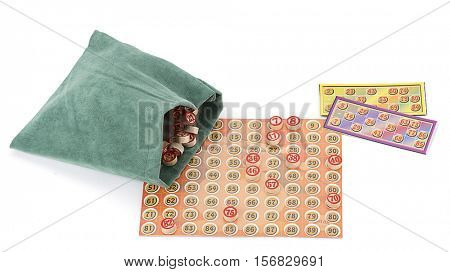 Traditional Turkish leisure game called tombala played at new year's eve isolated on white background.