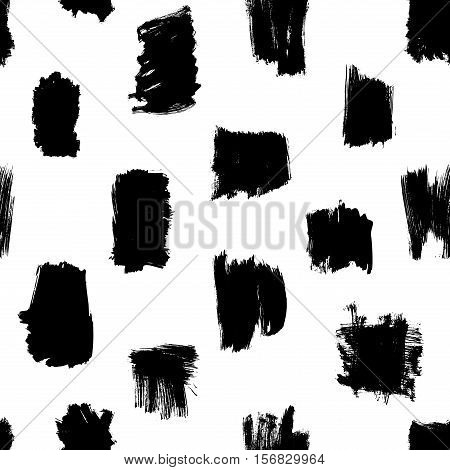 Modern grunge pattern, vector seamless thick brushstrokes pattern in black and white, hipster background, grunge strokes