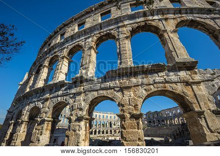Ancient Roman Amphitheater In Pula, Croatia. Unesco World Heritage Site.