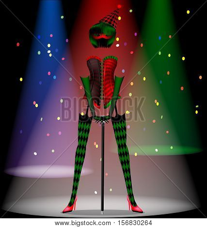 abstract dark scene of cabaret and dancing carnival ladies dress in red, green and black colors with hat and half mask