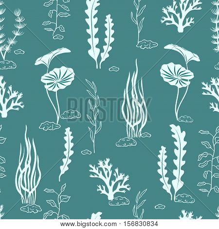 Seamless pattern with corals and seaweeds. Underwater algae. Vector blue marine background.