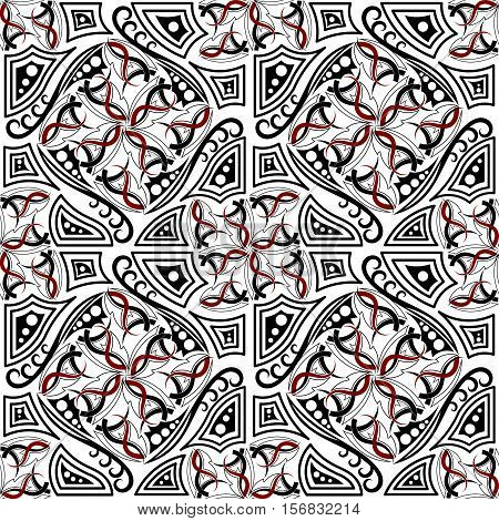 Abstract seamless texture with Gothic elements. Ethnic style.